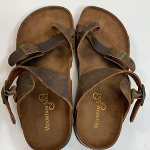 Mountain Sole Distressed Brown Leather Sandals 8